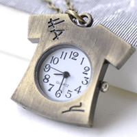 1 PC Antique Bronze T-Shirts Clothes Pocket Watch Necklace CHAIN INCLUDED 33x34mm A7962