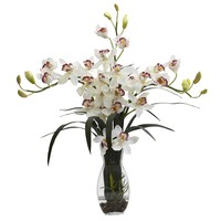 Triple Cymbidium Orchid Arrangement w/ Vase