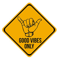 Shaka sign - Caution. Hang loose. Good vibes only. Surf style.