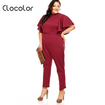 Women Plus Size Jumpsuits Ruffles Sleeve O Neck Backless Patchwork Office Wear Burgundy Clothes Plus Size Romper Jumpsuit