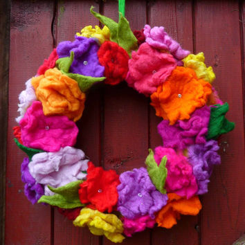 READY TO SHIP felted wool flower wreath, handmade ornament, decoration, spring, summer, autumn,handmade, felted art to wear