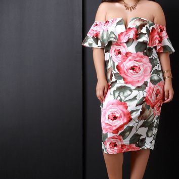 Rosette Off The Shoulder Ruffle V-Wire Inset Dress