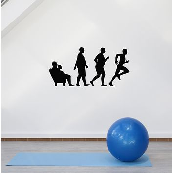Vinyl Wall Decal Fat Man Evolution Home Gym Running Motivation Sports Stickers Mural (ig6018)