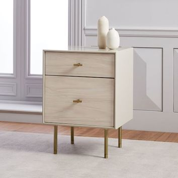 Modernist Wood + Lacquer Nightstand - Winter Wood