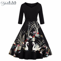 YELIANHU Women Dress 2017 Retro Vintage Half Sleeve Black Red Summer Dress Tunic 60s Rockabilly Swing Party Dress Long 5JQ77