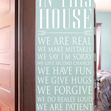 In this house - In this house we do - In this house we - In this house wall decals - Wall Decals - Wall Stickers - Wall Art - Family Decals