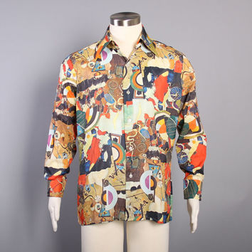 70s Men's Novelty DISCO SHIRT / SURREALIST Art Abstract Colorful Shirt, m-l