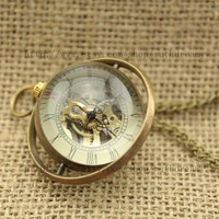 Mechanical Pocket Watch jewelry Time Turner Necklace Antique personalized steampunk Unique gift vintage bronze