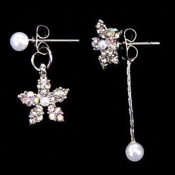 ES409 Tiny Simulated Pearls Drop Earrings Women Crystal Flower Dangle Earring Fashion Jewelry Brincos oorbellen Ear Jewelry