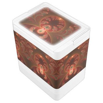Luminous abstract modern orange red Fractal Drink Cooler
