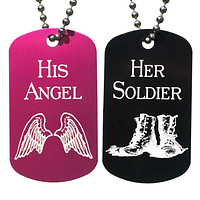 His Angel & Her Soldier Dog Tag Necklaces