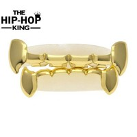 ac PEAPO2Q Christmas Gift Hip Hop  Gold Color Teeth Grillz TOP & BOTTOM GRILLS SET With silicone Vampire Grills Party Decoration