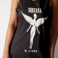 Nirvana In Utero Mens Tank Top Womens Tank Tops Rock Charcoal Kurt Cobain T shirt Size S M Free Size unisex sleeveless singlet Dave Grohl