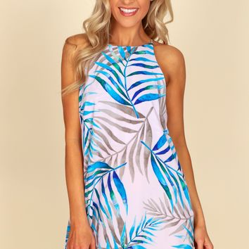 Palm Print Shift Dress.