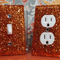 SET of CHUNKY BRONZE GLITTER Switch Plates / Outlet Covers ANY STYLES