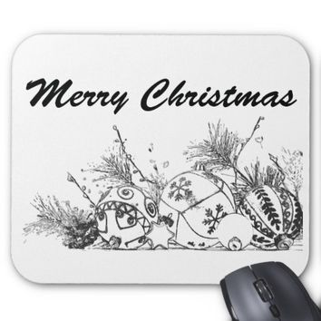 Mousepad - Merry Christmas Bauble Sketch Design (b