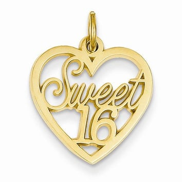 14k Yellow Gold Sweet 16 Charm Pendant