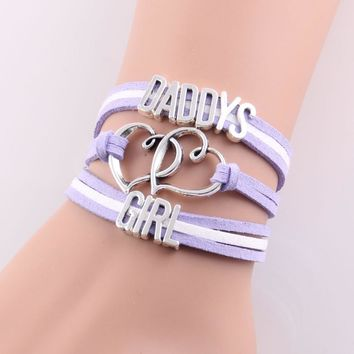 Infinity Love DADDY'S GIRL Charm Bracelet Faux Leather Wrap Gift