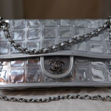 VERIFIED Authentic RARE Chanel Silver Ice Cubes Flap Bag