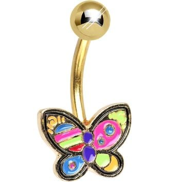 Gold Plated Color Splash Butterfly Belly Ring