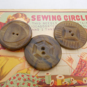 Large Vegetable Ivory Buttons, Carved Buttons, Lot of 3, Two Hole Sew Through