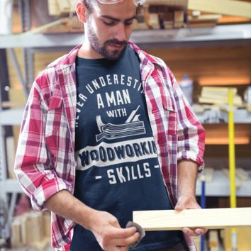 e9c05bd6 Men's Funny Carpenter T-Shirt Never Underestimate Man With Woodworking  Skills Shirts Tee Shirt Woodworker