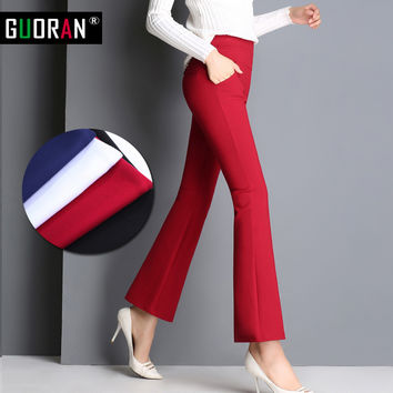 Vintage Office skinny Women Pants Trousers Zipper High Waist Pocket Flare pants formal OL Office Career Capris Work Wear Black