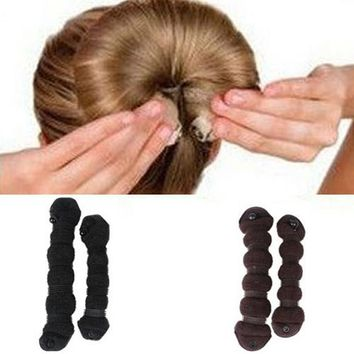 High Quality Unique Design 2pcs/set Elegant  Hair Styling Magic Style Bun Maker Hairstyle Updo DIY  Tool 5BSE 7GY1