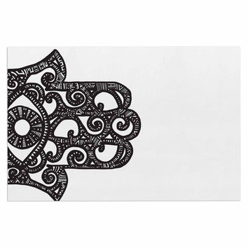 "Adriana De Leon ""Hamsa Hand"" Black White Decorative Door Mat"