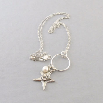 Sterling Silver With Sterling Silver Oxidized Swirl Star And White Freshwater Pearl Necklace