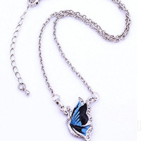 Basket Hill Watches, Silver Tone Abalone and Crystal Butterfly Necklace