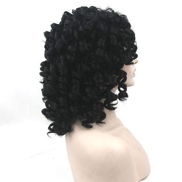 Soowee Black Curly Short Wigs Hairpiece Synthetic Hair Heat Resistant Fiber Party Hair Piece Cosplay Women Wig