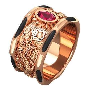 Rose Gold Ring Dragon Ring Filigree Big Ruby Mens Ring Men's Elephant Hair Wide Gold Band Ring Men's Ring Engraved Heavy Ring
