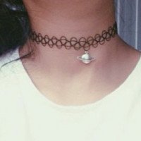 Space Case Tattoo Choker Necklace