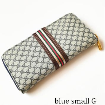 GUCCI classic double G letter printing men and women plaid zipper clutch F0848-1 Blue small G