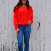 In The City Off Shoulder Sweater - Red