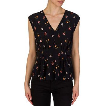 Rebecca Taylor Black Floral Meadow Top