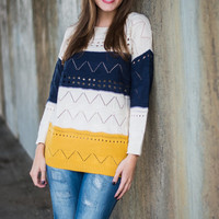 Goes Like This Sweater, Navy-Yellow