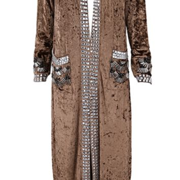 'Honore' Jeweled Velvet Coat - Caramel