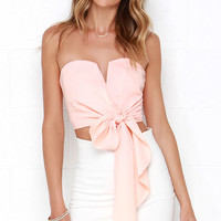 Be My Guest Peach Strapless Crop Top