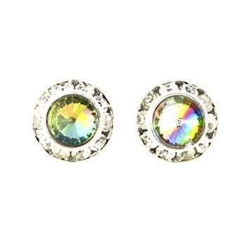 Aurora Borealis Crystal Circle Stud Earrings Silver Tone Posts EG70 Fashion Jewelry