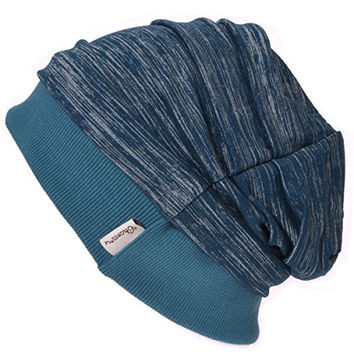 Casualbox Mens Slouch Beanie Hat Light Weight Cooling Dye Effect Japanese Blue