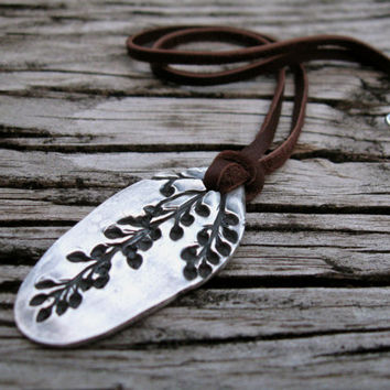 Garden foliage necklace, real leaf imprint necklace, silver woodland pendant, plant impression pendant, fall autumn leaves, nature necklace