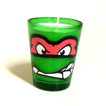 TMNT Raphael Candle - Soy Shot Glass Candle - CHOICE of SCENT