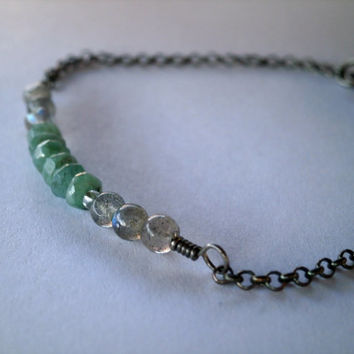 Emerald Bracelet. Labradorite Bracelet. Emerald Jewelry. May Birthstone Natural Gemstone Jewelry Oxidized Sterling Silver. Precious Gemstone