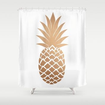 Gold Pineapple Shower Curtain by Neon Monsters