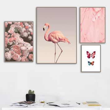 Rose Flower Flamingo Butterfly Landscape Wall Art Canvas Painting Nordic Posters And Prints Wall Pictures For Living Room Decor