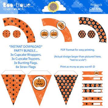 Party Pack Download. Orange, Black and white Halloween. Instant download PDF bunting, Straw Flags, Cupcake wrappers & toppers.