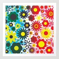 Psychedelic 60s Red Green Flower Pattern Art Print by Hippy Gift Shop