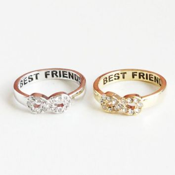 SJ Style Best Friends Engraved Infinity Ring Cubic Rhinestones Detail Gold Silver